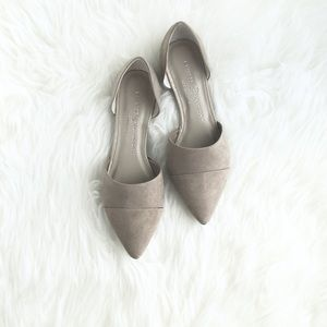 """Chinese Laundry """"Jin"""" Taupe Suede Dorsay Flats 6.5"""